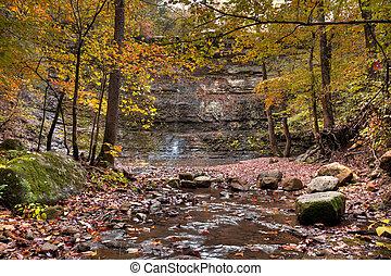 Twin Falls in Arkansas shot during the colorful fall season.