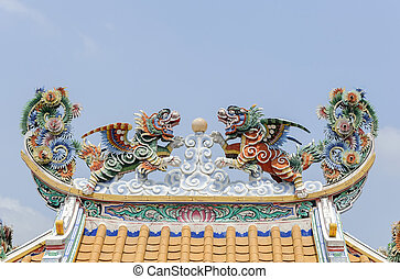 Twin flying lion on the roof in chinese style architecture deta