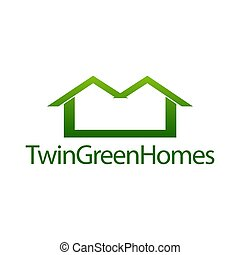 Twin green homes. Real estate house icon logo concept design template
