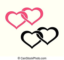 Twin Hearts - Flat Logo, Symbol of Betrothal. Vector...