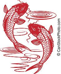 Twin Koi - Asian style illustration of twin fish swimming