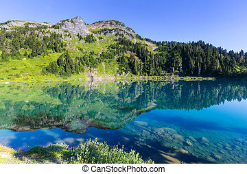 Twin lakes in Mt.Baker Recreational Area, Washington, USA