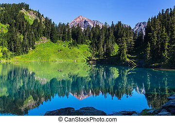 Twin lakes in Mt.Baker Recreational Area, Washington, USA