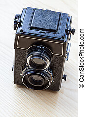 Twin-lens camera - A black old twin-lens camera viewed from ...