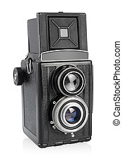 Twin-lens medium format camera isolated on the white. - Old ...