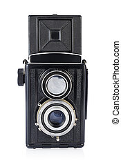 Twin-lens medium format camera isolated on the white. - Twin...