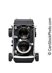Twin lens reflex camera isolated on white