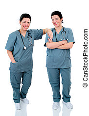 Twin Nurses - Twin Hospital Nurses Stood On A Reflective...