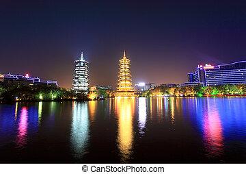twin pagodas in guilin at night