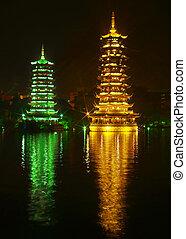 twin pagodas in Guilin