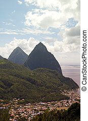 twin pitons Soufriere St. Lucia Caribbean Sea - panoramic...