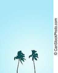 Twin Retro Palm Tree Silhouette Design