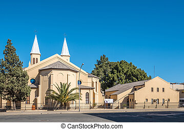 Twin-spired Dutch Reformed Church and hall in Bloemfontein