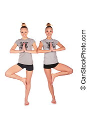 Twin sport girls balances