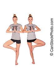 Twin sport girls balances