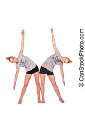 Twin sport girls side bend