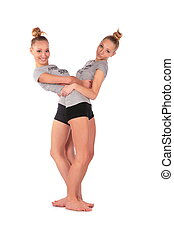 Twin sport girls stands