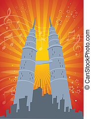 Twin Tower Music Celebration Illustration in Vector