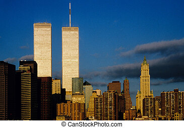 twin towers in sunset - twin towers in New York in sunset