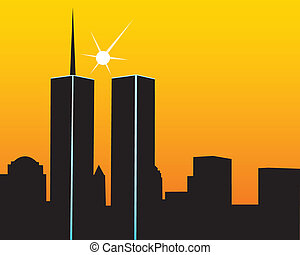 The twin towers on a yellow orange background