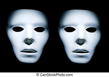Twin White Faces - Two ghost like faces on a black...