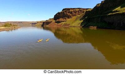 Twin Yellow Kayaks Enter Palouse River Rowing Outdoor...