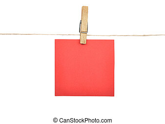 Twine and paper on white background