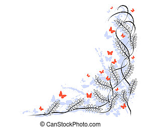 Twine - Border of leaves, butterflies and grunge