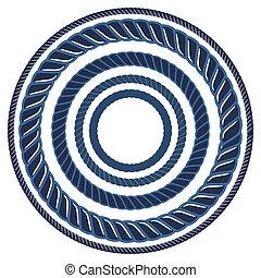 Twine rope navy blue marine brush. Pattern string border. -...