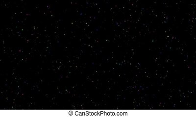 Twinkle of multicolored brilliant stars on a black background HD 1080
