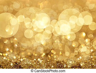 Twinkley Lights and Stars Christmas Golden Background