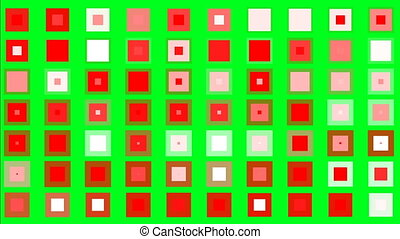 Twinkling colorful squares on green screen minimalism concept