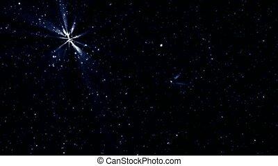 twinkling, estrelas, e, meteoro, em, noturna