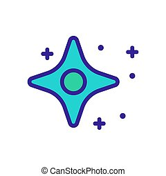 twinkling four pointed star with circle inside icon vector outline illustration