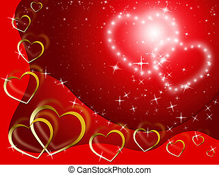 Twinkling Hearts Background Shows Lover And Fondness -...