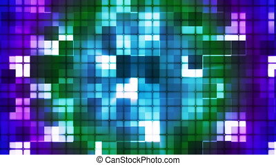 Twinkling Hi-Tech Cubic Squared Light Patterns, Multi Color, Abstract, Loop, HD