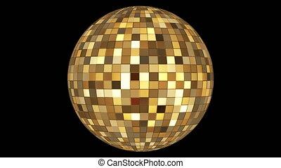 Twinkling Hi-Tech Squares Spinning Globe, Golden Brown, Events, Alpha Matte, Loopable, 4K