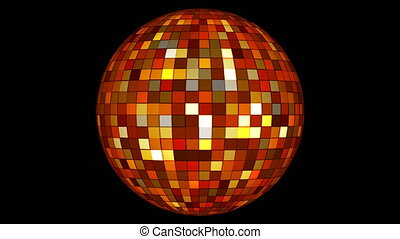 Twinkling Hi-Tech Squares Spinning Globe, Golden Orange, Events, Alpha Matte, Loopable, 4K