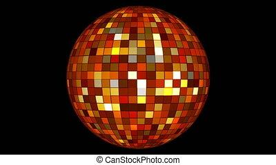 Twinkling Hi-Tech Squares Spinning Globe, Golden Orange, Events, Alpha Matte, Loopable, 4K