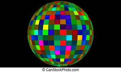 Twinkling Hi-Tech Squares Spinning Globe, Green, Events, Alpha Matte, Loopable, 4K