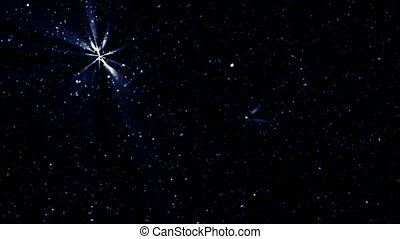 Twinkling stars and meteor in night