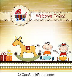 Twins announcement card