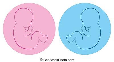 Twins Babies Boy Girl Blue Pink Circle Birth