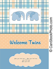 twins baby shower card with two elephants