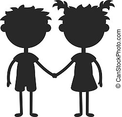 Twins happy kids holding hands black silhouette boy and girl...