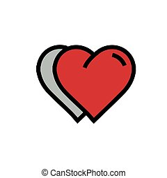 Twins Heart Icon cartoon red color