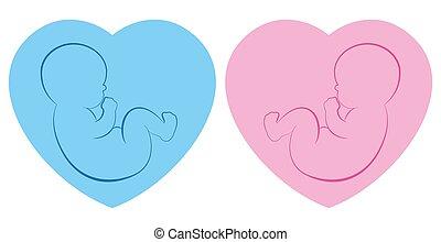 Twins Hearts Babies Boy Girl Blue Pink Outline Illustration Birth Symbol