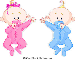 Two baby twins lie and keep the pacifiers