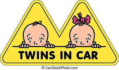 Twins in car sticker. Fases of baby boy and girl
