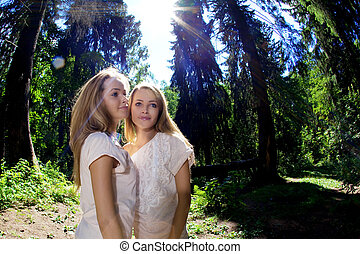 Twins in the forest